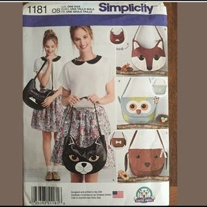 Animal Purse Bag SIMPLICITY Sewing Pattern 1181